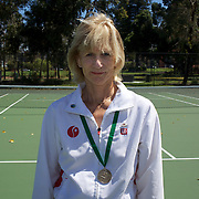 Susy Burggraf, Switzerland, Semi Finalst, 65 Womens Singles, during the 2009 ITF Super-Seniors World Team and Individual Championships at Perth, Western Australia, between 2-15th November, 2009.