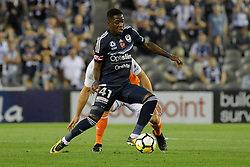 November 11, 2017 - Melbourne, Victoria, Australia - LEROY GEORGE (41) of the Victory controls the ball in the round six match of the A-League between Melbourne Victory and Brisbane Roar at Etihad Stadium, Melbourne, Australia. Melbourne drew 1-1 (Credit Image: © Sydney Low via ZUMA Wire)