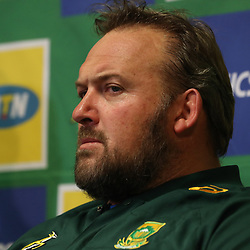 DURBAN, SOUTH AFRICA - AUGUST 14: Matt Proudfoot (Forward Coach) of South Africa during the South African national rugby team media conference at Garden Court Umhlanga on August 14, 2018 in Durban, South Africa. (Photo by Steve Haag/Gallo Images)
