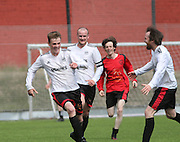 Dundee Thistle's Craig Hay (left) celebrates after scoring his side's second goal to seal their cup win - Dundee Thistle (white) v DUMS (red and black) - Dundee Saturday Morning Football League Ross Kirk Memorial Cup Final at GA Arena<br /> <br />  - &copy; David Young - www.davidyoungphoto.co.uk - email: davidyoungphoto@gmail.com
