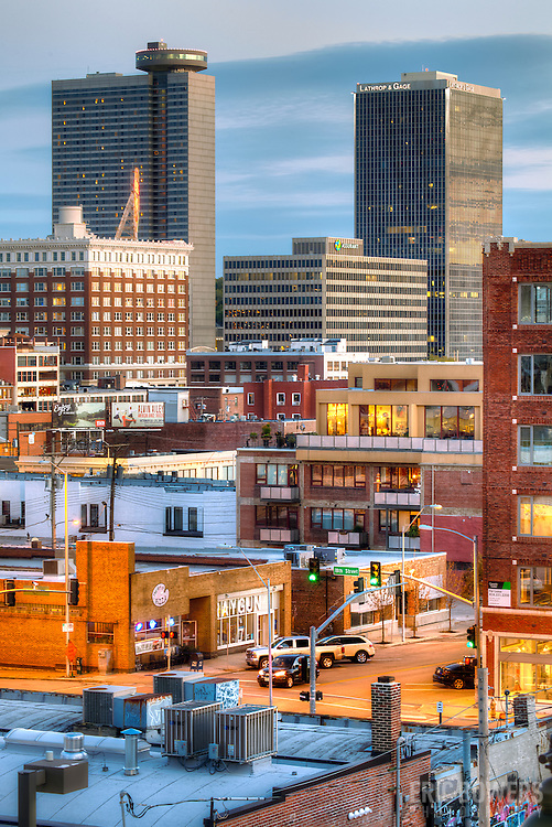 Vertical photo of Crossroads District and Crown Center in downtown Kansas City, Missouri.