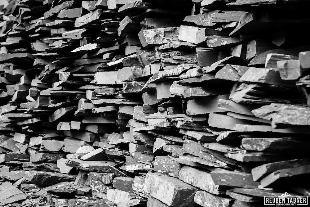 Walls built from slabs of slate, above the village of Llanberis, North Wales