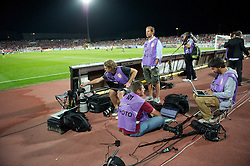 NOVI SAD, SERBIA - Tuesday, September 11, 2012: Photographers working pitch-side during the 2014 FIFA World Cup Brazil Qualifying Group A match between Serbia and Wales at the Karadorde Stadium. (Pic by David Rawcliffe/Propaganda)