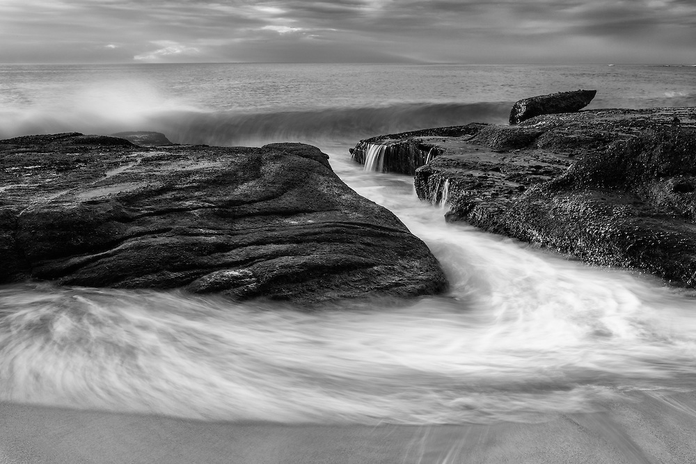 Breaking Wave - Aliso Creek Tide Channel - Sunset - Black & White