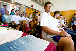 Diploma for Sebastjan Jagarinec at press conference of team Slovenia at arrival at the end of European Athletics Championships Barcelona 2010 to Slovenia, on August 2, 2010 at Airport Joze Pucnik, Brnik, Slovenia. (Photo by Vid Ponikvar / Sportida)