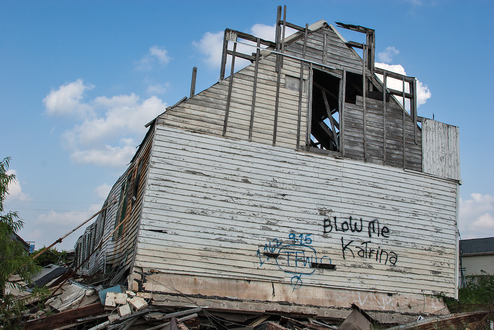 Home destroyed by Hurricane Katrina a year and a half after the storm in New Orleans.