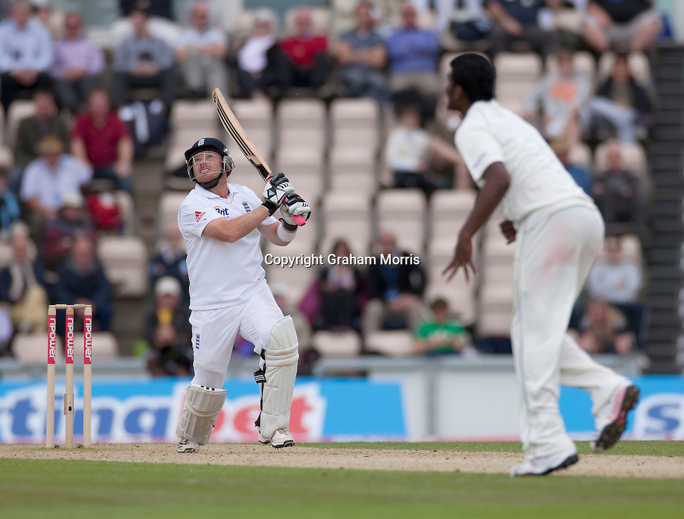 Ian Bell bats off Thisara Perera during the third npower Test Match between England and Sri Lanka at the Rose Bowl, Southampton.  Photo: Graham Morris (Tel: +44(0)20 8969 4192 Email: sales@cricketpix.com) 19/06/11