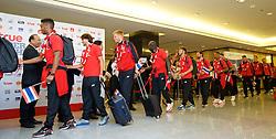 BANGKOK, THAILAND - Monday, July 13, 2015: Liverpool players at Bangkok's Suvarnabhumi Airport as the team arrive in Thailand for the start of the club's preseason tour. (Pic by David Rawcliffe/Propaganda)