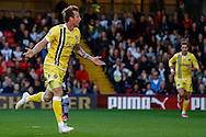 Martyn Woolford of Millwall celebrates scoring the opening goal against Watford during the Sky Bet Championship match at Vicarage Road, Watford<br /> Picture by David Horn/Focus Images Ltd +44 7545 970036<br /> 01/11/2014