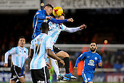 Peterborough United midfielder Harry Beautyman and Shrewsbury Town FC midfielder Jordan Clark challenge for the ball during the Sky Bet League 1 match between Peterborough United and Shrewsbury Town at the ABAX Stadium, Peterborough, England on 12 December 2015. Photo by Aaron Lupton.