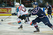 KELOWNA, CANADA - MARCH 04:  Erik Gardiner #12 of the Kelowna Rockets, Dalton Yorke #3 of the Tri-City Americans at the Kelowna Rockets game on March 04, 2017 at Prospera Place in Kelowna, British Columbia, Canada.  (Photo By Cindy Rogers/Nyasa Photography,  *** Local Caption ***