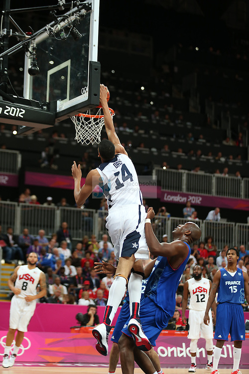 Anthony Davis of the USA in action against France during Day 2 of the London Olympic Games in London, England, United Kingdom on 29 Jul 2012..(Jed Jacobsohn/for The New York Times)....