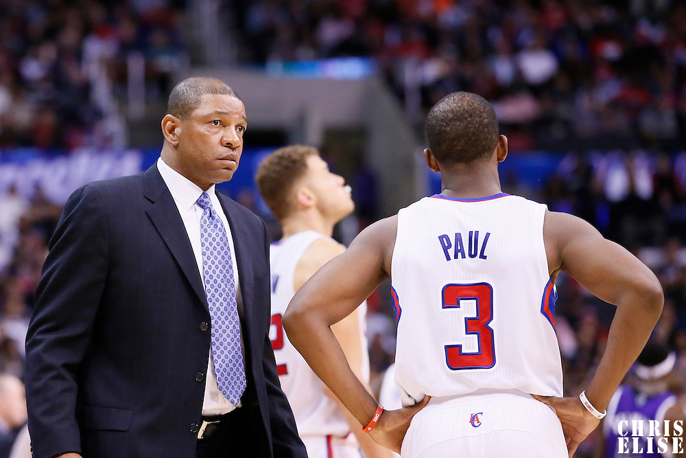 23 November 2013: Los Angeles Clippers head coach Doc Rivers talks to Los Angeles Clippers point guard Chris Paul (3) during the Los Angeles Clippers 103-102 victory over the Sacramento Kings at the Staples Center, Los Angeles, California, USA.