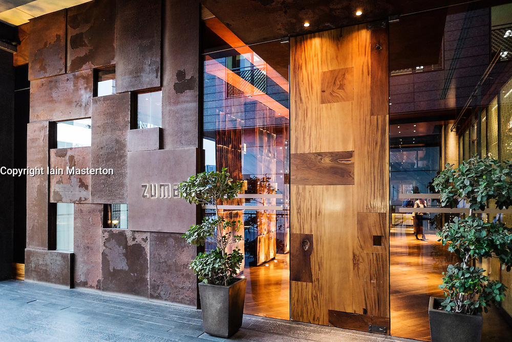entrance to Zuma Japanese restaurant at The Gate Viallage adjacent the DIFC in Dubai United Arab Emirates