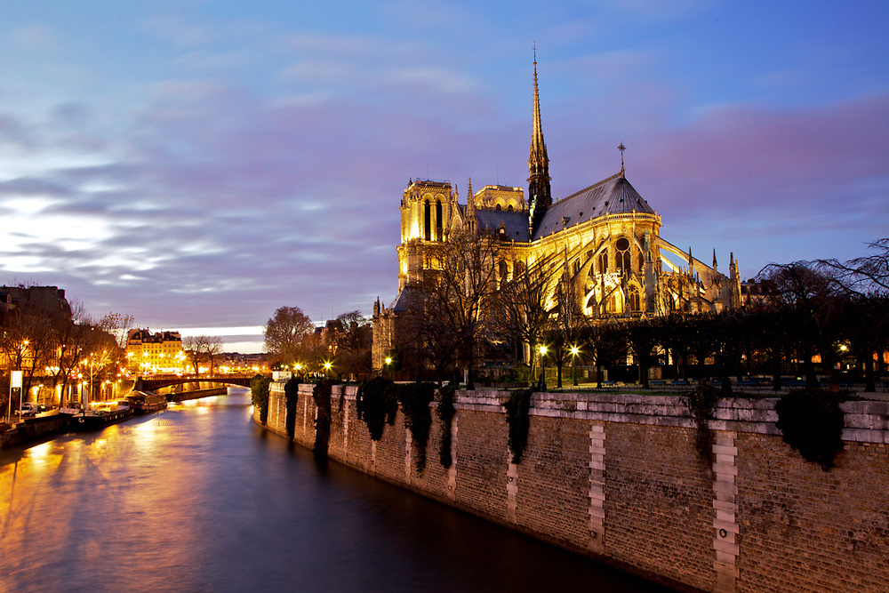 Notre Dame cathedral, Paris. View from pont de l'archev&ecirc;ch&eacute;.<br />