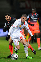 FOOTBALL - FRENCH CHAMPIONSHIP 2009/2010 - L1 - AS NANCY v OLYMPIQUE LYONNAIS - 16/01/2010 - PHOTO GUILLAUME RAMON / DPPI - MICHAEL CHRETIEN (NANCY)  AND LISANDRO LOPEZ (LYON)