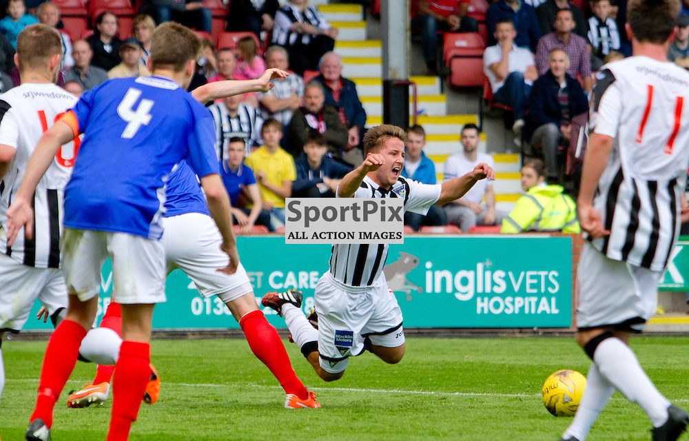 Dunfermline Athletic v Cowdenbeath SPFL League One Season 2015/16 East End Park 15 August 2015<br /> Josh Falkingham is fouled for the penalty<br /> CRAIG BROWN | sportPix.org.uk