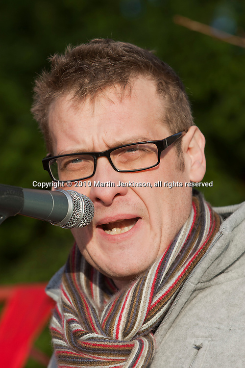 Karl Turner MP, Hull East,, speaking at an FBU march and rally against proposed cuts in frontline services. Kingston upon Hull 11/12/10...© Martin Jenkinson, tel 0114 258 6808 mobile 07831 189363 email martin@pressphotos.co.uk. Copyright Designs & Patents Act 1988, moral rights asserted credit required. No part of this photo to be stored, reproduced, manipulated or transmitted to third parties by any means without prior written permission.