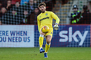Forest Green Rovers goalkeeper James Montgomery during the EFL Sky Bet League 2 match between Cheltenham Town and Forest Green Rovers at Jonny Rocks Stadium, Cheltenham, England on 29 December 2018.
