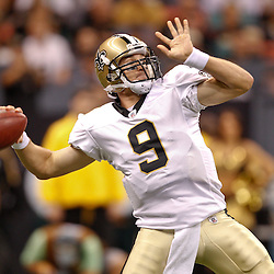 August 27, 2010; New Orleans, LA, USA; New Orleans Saints quarterback Drew Brees (9) throws a pass against the San Diego Chargers during the first quarter of a preseason game at the Louisiana Superdome. Mandatory Credit: Derick E. Hingle