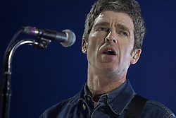 © Licensed to London News Pictures . 04/05/2018 . Manchester , UK . NOEL GALLAGHER performs with Noel Gallagher's High Flying Birds at the Manchester Arena . Photo credit : Joel Goodman/LNP