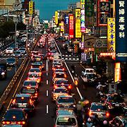 Evening traffic looking eastwards along Dung Men Road, Tainan City, Taiwan