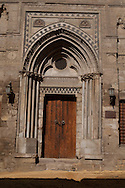 Egypt. Cairo : Gothic doorway from a crusader church at Acre. at the entrance of the madrasa and mausoleum of Al-Nasir Muhammad - NM44 -. in Al Mu'izz street .   +