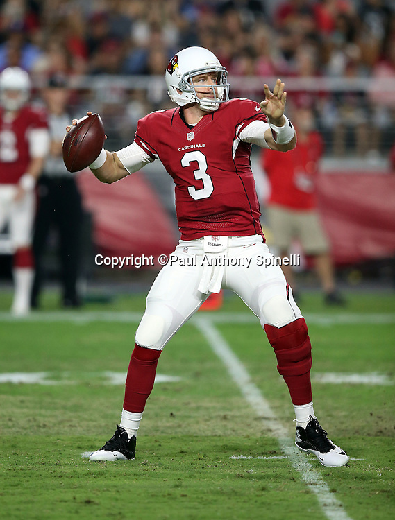 Arizona Cardinals quarterback Carson Palmer (3) throws a pass during the 2015 NFL preseason football game against the San Diego Chargers on Saturday, Aug. 22, 2015 in Glendale, Ariz. The Chargers won the game 22-19. (©Paul Anthony Spinelli)