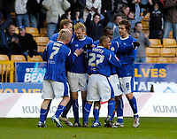 Photo: Leigh Quinnell.<br /> Wolverhampton Wanderers v Leicester City. Coca Cola Championship. 09/12/2006. Leicesters Elvis Hammond celebrates his goal with his teammates.