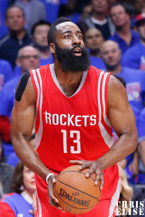 14 May 2015: Houston Rockets guard James Harden (13) eyes the basket during the Houston Rockets 119-107 victory over the Los Angeles Clippers, in game 6 of the Western Conference semifinals, at the Staples Center, Los Angeles, California, USA.