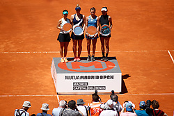 May 11, 2019 - Madrid, MADRID, SPAIN - Gabriela Dabrowski (CAN), Yifan Xu (CHN, Su-Wei Hsieh (TPE) and Barbora Strycova (CZE) during the Mutua Madrid Open 2019, WTA Doubles Final, (ATP Masters 1000 and WTA Premier) tenis tournament at Caja Magica in Madrid, Spain, on May 11, 2019. (Credit Image: © AFP7 via ZUMA Wire)