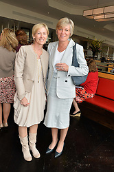 Left to right, DEBBIE LAIDLAW and OLIVIA BLOOMFIELD at a ladies lunch in aid of the charity Maggie's held at Le Cafe Anglais, 8 Porchester Gardens, London on 29th April 2014.