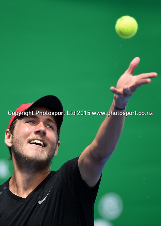 France's Lucas Pouille during his first round singles match on day 1 at the Heineken Open. Festival of Tennis, ATP World Tour. ASB Tennis Centre, Auckland, New Zealand. Monday 12 January 2015. Copyright photo: Andrew Cornaga/www.photosport.co.nz
