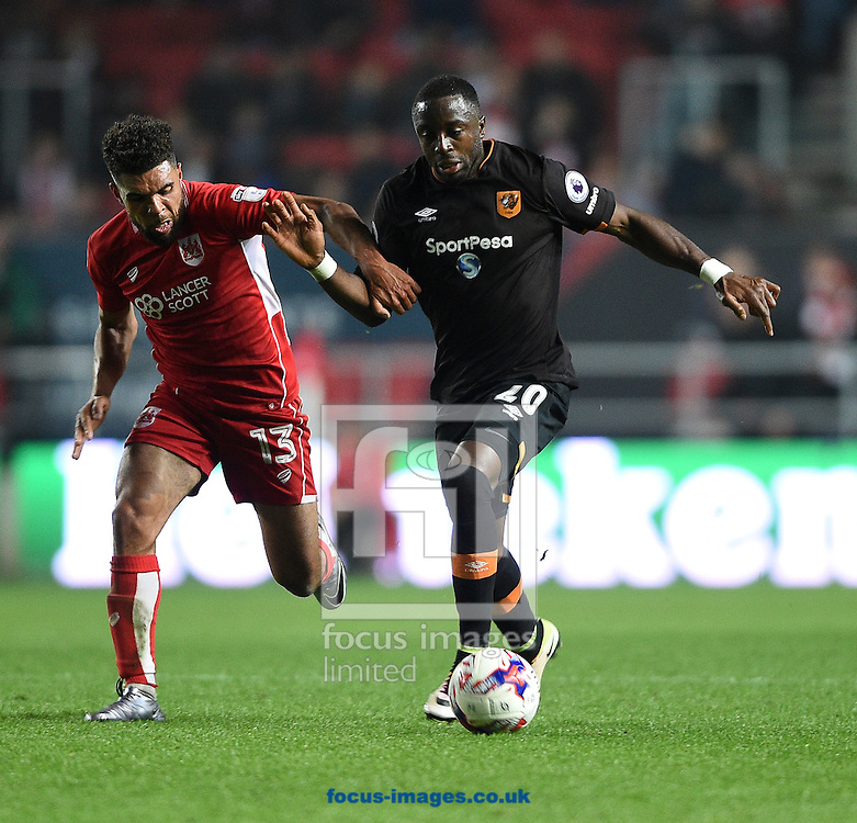 Hull City's Adama Diomande battles with Scott Golbourne of Bristol City  during the EFL Cup match at Ashton Gate, Bristol<br /> Picture by Daniel Hambury/Focus Images Ltd +44 7813 022858<br /> 25/10/2016
