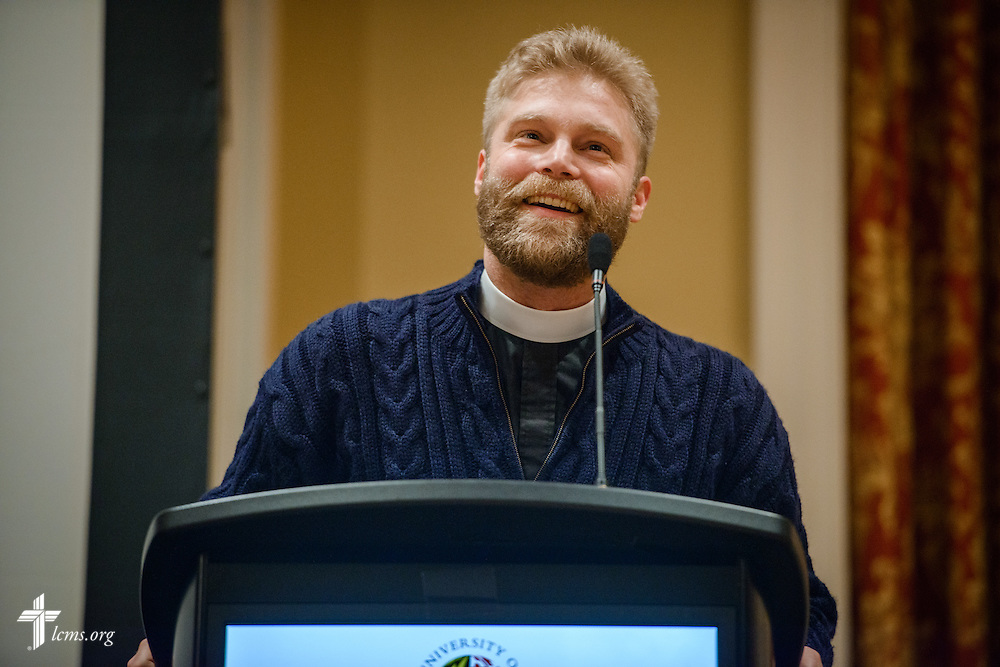 The Rev. Mark Preus, pastor of St. Andrew's Lutheran Church and Campus Center in Laramie, Wyo., speaks during the Liberty National LCMS Campus Ministry Conference on Wednesday, Jan. 4, 2017, at the University of Maryland in College Park, Md. LCMS Communications/Erik M. Lunsford