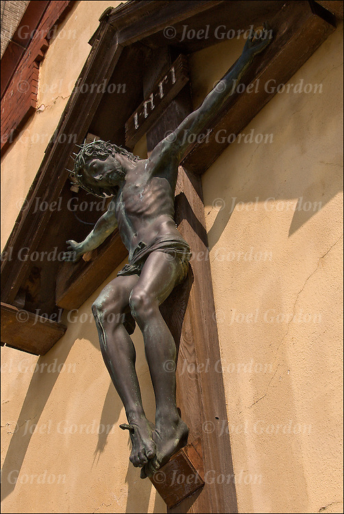 Crucifixion the image of the Jesus Christ on the cross on exterior of church.