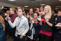 © Licensed to London News Pictures.23/06/2016. Bristol, UK.  EU Referendum 2016; Labour In campaigners celebrate the EU Referendum result in Bristol which voted to Remain in the EU by 141,027 votes to 87,418 for leaving the EU, on a voting turnout of 73.2%. The Bristol City Council vote count took place at Parkview Office Campus in Whitchurch, Bristol. A false fire alarm interrupted the verification of ballot papers as everyone had to briefly evacuate the building before the all clear was given. Photo credit : Simon Chapman/LNP