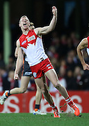 Zak Jones of the Swans celebrates after kicking a goal during the 2014 AFL Round 15 match between the Sydney Swans and the GWS Giants at the SCG, Sydney on June 28, 2014. (Photo: Craig Golding/AFL Media)