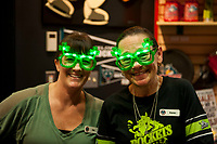 KELOWNA, CANADA - MARCH 18:  Kelowna Rockets' store staff Kim and Karen celebrate St. Patrick's Day against the Vancouver Giants on March 1, 2018 at Prospera Place in Kelowna, British Columbia, Canada.  (Photo by Marissa Baecker/Shoot the Breeze)  *** Local Caption ***