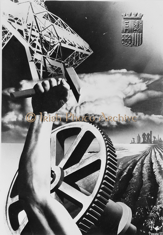 Spanish War Poster, c1935-1942,  proclaiming strength in industry and agriculture.