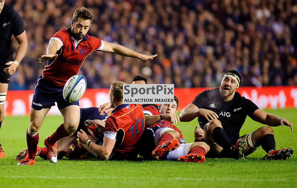 15/11/2014, Murrayfield, Scotland, Greig Laidlaw kicks clear from a ruck during the Scotland v New Zealand Autumn Test game,.......(c) COLIN LUNN | SportPix.org.uk