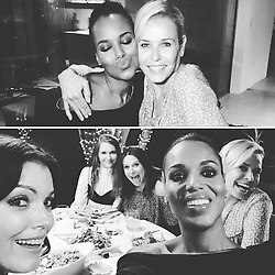 "Kerry Washington releases a photo on Instagram with the following caption: ""About last night. Amazing dinner with @chelseahandler and my #scandal sisters. Good times. Great girlfriends. Yummy grub. And we MIGHT have filmed it too. So get ready! \ud83d\ude0d"". Photo Credit: Instagram *** No USA Distribution *** For Editorial Use Only *** Not to be Published in Books or Photo Books ***  Please note: Fees charged by the agency are for the agency's services only, and do not, nor are they intended to, convey to the user any ownership of Copyright or License in the material. The agency does not claim any ownership including but not limited to Copyright or License in the attached material. By publishing this material you expressly agree to indemnify and to hold the agency and its directors, shareholders and employees harmless from any loss, claims, damages, demands, expenses (including legal fees), or any causes of action or allegation against the agency arising out of or connected in any way with publication of the material."