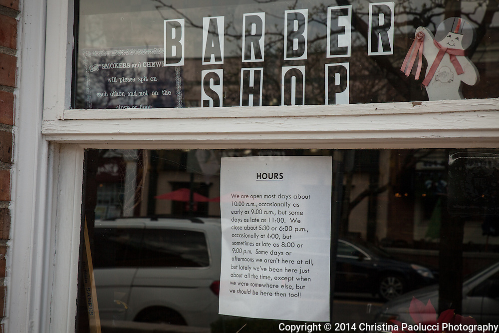 The Olde Village Barber in Worthington, Ohio Saturday April 26, 2014. (Christina Paolucci, photographer).