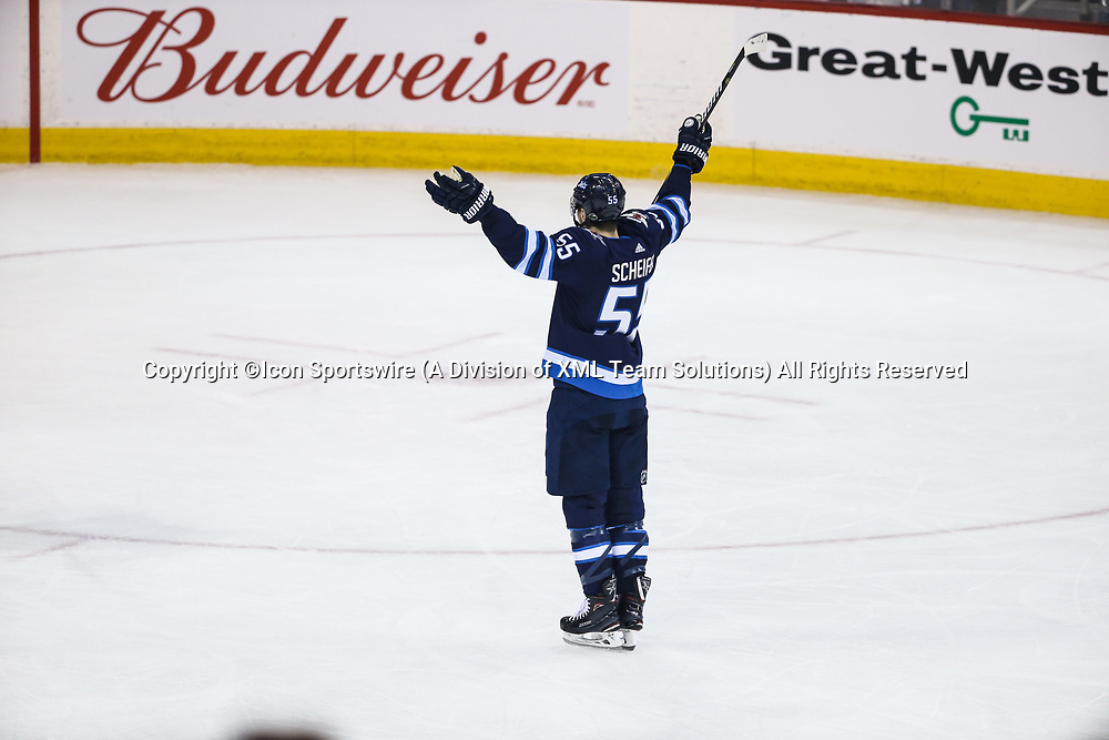 WINNIPEG, MB – April 11: Winnipeg Jets forward Mark Scheifele (55) celebrates his goal during the Stanley Cup Playoffs First Round Game 1 between the Winnipeg Jets and the Minnesota Wild on April 11, 2018 at the Bell MTS Place in Winnipeg MB. (Photo by Terrence Lee/Icon Sportswire)