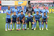 New York City FC pose for a team photo during a MLS soccer match, Wednesday, Aug. 21, 2019, in New York (Errol Anderson/Image of Sport)