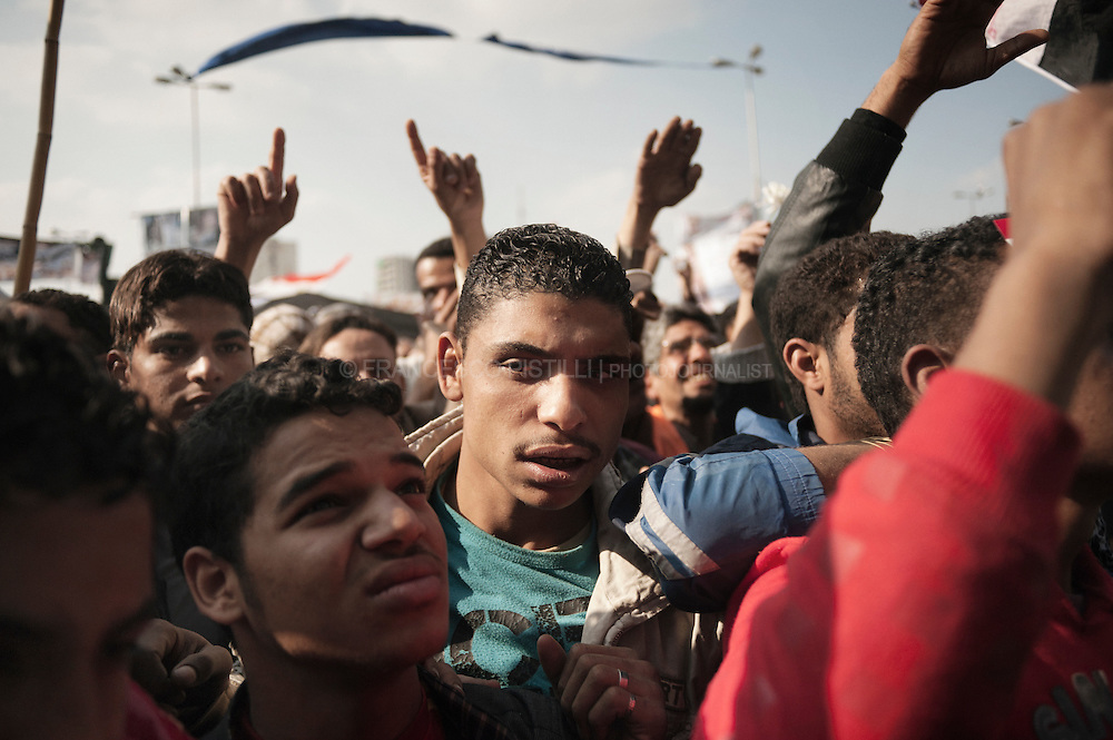 "Dicember 2, 2011. Egypt. Cairo. People protesting against ""SCAF"" after the Friday prayer."