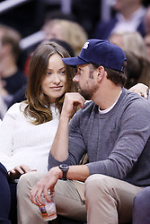 61092174<br /> Olivia Wilde and Jason Sudeikis are seen courtside at the Staples Center, Los Angeles, USA, during a Los Angeles Clippers game, Tuesday, 18th February 2014. Picture by  imago / i-Images<br /> UK ONLY
