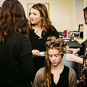 PROVIDENCE, RI - FEB 18: Kate Thomas gets a head full of curlers backstage prior to the J. Papa show during StyleWeek NorthEast on February 18, 2015 in Providence, Rhode Island. (Photo by Cat Laine)