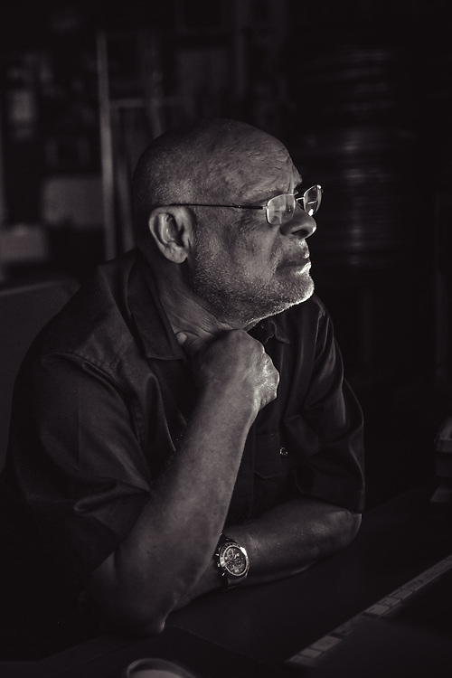 "Haile Gerima editing his upcomming documentary ""Children of Adwa""."