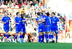 Leeds United's Robert Snodgrass celebrates scoring with team mates - Photo mandatory by-line: Joe Meredith/JMP - 12/02/2011 - SPORT - FOOTBALL - Championship - Bristol City v Leeds United - Ashton Gate Stadium, Bristol, England